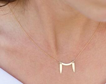 Camelia, dainty 14k gold necklace, dangle pendant solid gold double teardrop necklace, solid gold necklaces for women, stalactites necklace