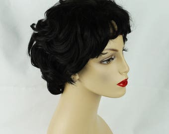 Costume Wig Short Black Curly Style Adjustable Lace Cap Acrylic