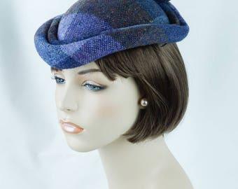 1980s Vintage Hat Lilac Wool Plaid Teardrop Fascinator