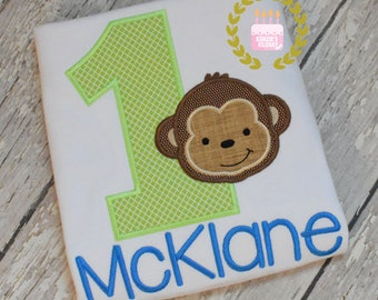Monkey birthday shirts - Birthday monkey shirt - Monkey embroidery t-shirts - Monkey appliques - Toddler - Babies - 12 mo 18 mo 2t 3t 4t 5 6