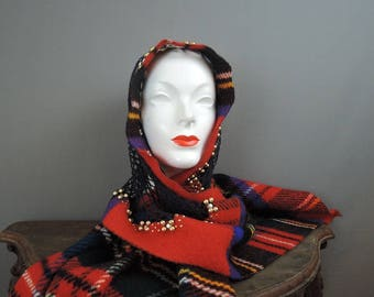 Vintage Mr. John Head Scarf Wrap, Red Wool Plaid with Studs and Rhinestones, 1960s