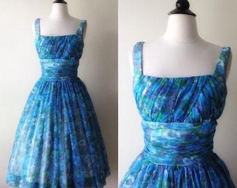 Marvelous Floral Chiffon Dress | 1950s