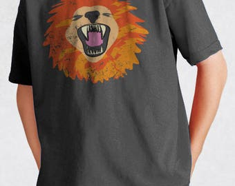 Lion Face Youth Tee - Big Jungle Cat Face Shirt - Zoo Animal Illustration - Lions Roar Childrens Tshirt - Kids' Sizes 100% Cotton T-shirt