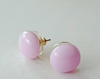 Pink Stud Earrings, Post Earrings, Sterling Silver Post, Fused Glass Jewelry, Pink Post Earrings, Round Post Earrings,  Made in USA