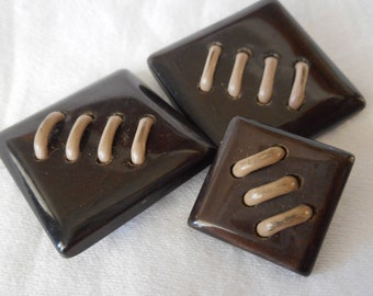 Set of 3 VINTAGE Square Laced Brown Plastic BUTTONS