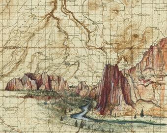 Smith Rock Oregon, Smith Rock painting print Desert illustration, Oregon hiker desert print, Bend wilderness climbing art, climber map art