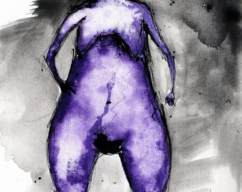 Nude painting 8x12 canvas sheet 20x30cm - figure drawing - Purple