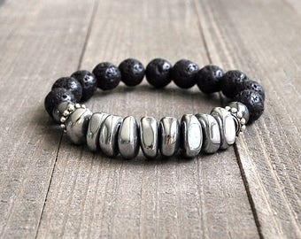 Magnetic Hematite & Lava Rock Beaded Bracelet Unisex Perfect For A Man or Woman