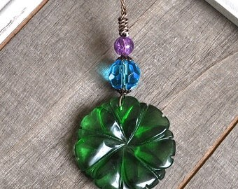 Gemstone Flower Pendant Green Quartz Carved Flower Necklace Blue Faceted Crystal Hand Wrapped