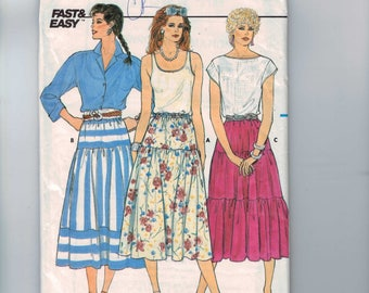 1980s Vintage Sewing Pattern Butterick 3185 Misses Tiered Peasant Skirt Calf Length Easy Size 8 10 12 Waist 24 1985