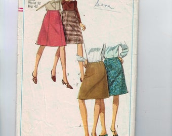 1960s Vintage Sewing Pattern Simplicity 6695 Plus Size A Line Skirt Waist 32 1966