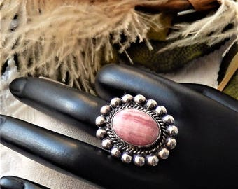 Large Vintage Taxco Mexico Sterling Silver Rhodochrosite Ring Size 9.25