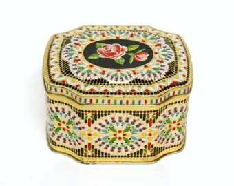 Vintage Metal Toffee Tin with Colorful Embossed Design & Rose On Hinged Lid (Made in England)