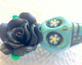 Turquoise Sugar Skull and Black Rose Day of the Dead Pendant