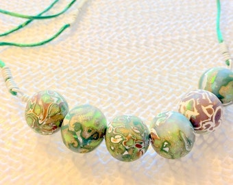 Earthy Boho Handmade One of A Kind Polymer Clay Beaded Green Planet Cord Necklace