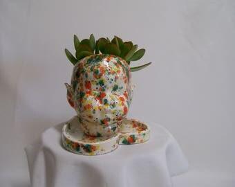 White Ceramic  Doll Head Plant Holder