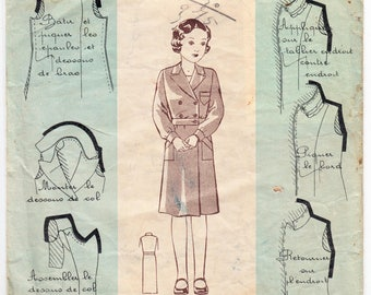 """Vintage Sewing Pattern French 1930s Patron Modèle 300556 Girl's Coat 27"""" Bust"""