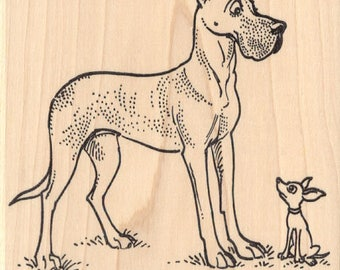 Great Dane Dog with Chihuahua Rubber Stamp N20519 Wood Mounted