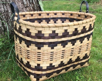 Hand Woven Laundry Basket - laundry storage- storage basket - yarn basket - knitting basket -  handmade basket
