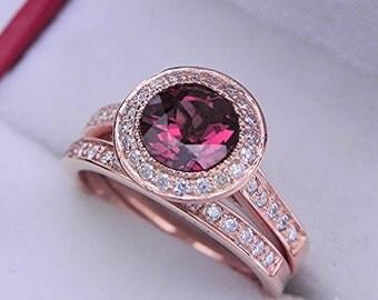 AAAA Grape Rhodolite Garnet 7.0mm  1.71 Carats   14K Rose gold bridal set with .35cts of diamonds. 0504