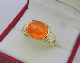 AAAA Mandarin Orange Spessartite garnet 8.4 carats  11x9.5mm in 14K Yellow gold bezel set ring.  0265