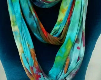 Aqua Purple Green Ice Dyed Infinity Jersey Scarf Teal Absinthe Blue Hand Dyed Tee Shirt Scarf - Lalique Infinity