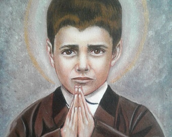 """St Francisco Marto 11""""x14"""" Original on Canvas Visionary of Our Lady of Fatima Queen of the Holy Rosary Acrylic Painting,Catholic Art, signed"""