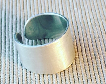 Open cuff ring, Silver ring, Sterling silver band, Adjustable ring, Unisex ring, Sterling silver cuff ring, Tube ring, Minimalist ring