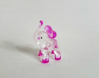 Small Lucite Elephant Carnival Prize with Hot Pink Accents