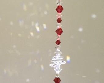 Crystal Sun Catcher, Red Crystals, Swarovski Crystals, Crystal Car Charm, Hanging Crystals, Crystal Ornament, Window Sun Catcher, Prism 8874