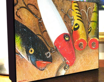 """Fishing Lure Art 8x10x1.5"""" and 11x14x1.5"""" Gallery Wrap Canvas Print Signed and Numbered"""