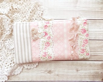 Shabby Cottage Chic Pink Rose and Ticking Fabric Zipper Pouch