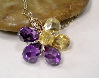 Cubic Zirconia Dainty Flower Pendant wrapped in Gold-Filled Wire, Purple Yellow Flower Workplace Pendant Necklace, Ooak Gift for Her