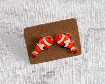 Clown fish Earrings, Teeny Tiny Earrings, Fish Jewelry, Cute Earrings