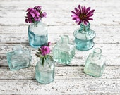 Antique Aqua Glass Ink Bottle, Hand Blown Civil War Era Bottle, Collectible Glass, Bud Vase