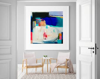 """Large abstract print of painting on canvas, white black, modern giclee art print, print art abstract, giclee print abstract, """"Landscape I"""""""