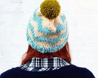 Knit Chevron Fair Isle Sweater Pattern Pom Pom Beanie Hat - Icy Blue, Cream, and Pea Green
