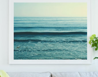 ready to hang beach print, framed beach photograph, blue decor, coastal wall art, nautical print, ocean wave photo, nursery decor, yoga art