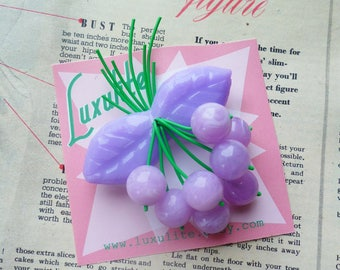 NEW Lilac Classic cherry 1940s 50s bakelite fakelite style novelty brooch by Luxulite