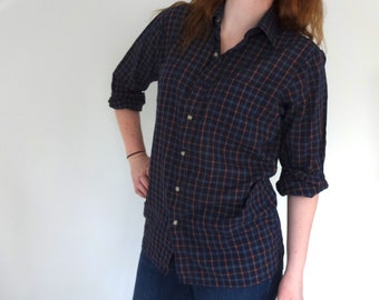 Vintage ARROW Shirt • 1980s Clothing • Plaid Checkered Long Sleeve Button Up Dress Shirt Soft Navy Blue Cotton Poly • Unisex Women Small Men