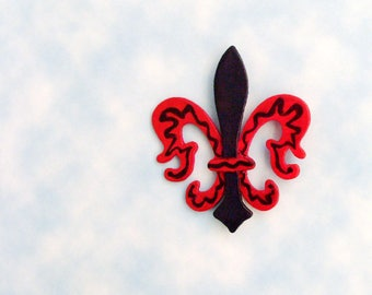 Fleur-De-Lis Brooch - Pin / Red & Navy Blue Hand Painted Wood Brooch / Unique Accessory Gift Under 25