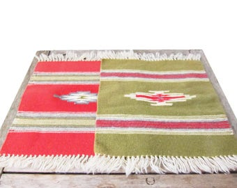 Vintage Woven Placemats - Southwestern Fabric Placemat Settings - Western American Boho Table Settings Rustic Cabin Wall Hangings Fiber Art