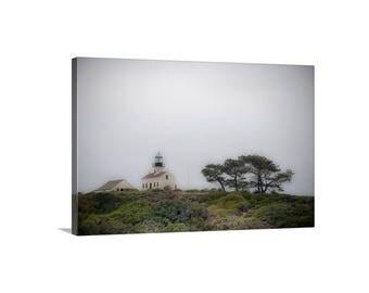 Point Loma, San Diego Art, Lighthouse Art, Giclee Canvas Wrap, Pt Loma, California Coast, Cabrillo, Foggy, Southern California, Canvas Art