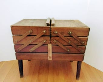 Wooden Sewing Box, Expanded Accordion Vintage Sew Basket, Large Wood Box Dovetail Corners Cantilever Stands on four legs, Jewelry storage
