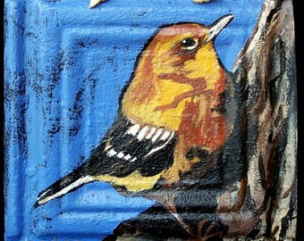 Original yellow Warbler  Painting on a Textured 100 year old tin tile/ceiling tile/antique/reclaimed/wild flowers/Linda Kelly/bright