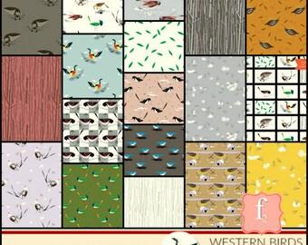 Western Birds Organic 18 piece Fat Quarter Bundle - Charlie Harper Birch Organic Fabric