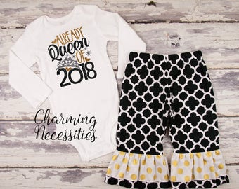 Baby Girl First New Years Eve Outfit, Toddler Girl NYE New Years Outfit for girls, My 1st New Years, Already Queen of 2018 black gold
