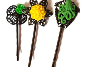 Octopus Bobby Pin Set of 3-Antique Brass-Kraken Hair Pins-Lime Green Hair Slides-Fashion Accessory-Yellow Floral-Cephalopod Fan-Teen Gift