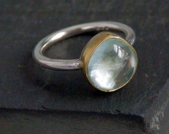 Aquamarine ring / 18k gold ring / March birthstone / teardrop aquamarine / aquamarine jewelry / gold aquamarine ring / ready to ship / gift