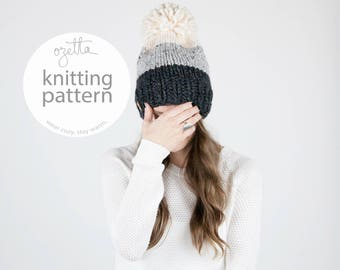 Knitting Pattern / Ombré Knit Hat With Pom Pom / THE BRECK